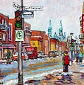 Rosemont Petite Patrie Montreal Winter Scene Art View Of Eglise Saint Edouard Quebec Art C Spandau by Carole Spandau