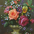 Roses And Pansies by Albert Williams