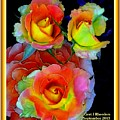 Roses For Anne Catus 1 No. 3 V A With Decorative Ornate Printed Frame. by Gert J Rheeders