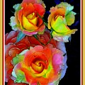Roses For Anne Catus 1 No. 3 V B With Decorative Ornate Printed Frame. by Gert J Rheeders
