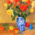 Roses In A Mexican Vase by Bunny Oliver