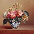 Roses In China Vase by Aniko Vida