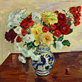 Roses In Chinese Vase by Vitali Komarov