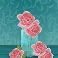 Roses In Clear Blue Jar by Michelle Lanoue