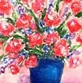 Roses On Blue Vase by Hae Kim