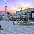 Rossio Square In Lisbon Portugal At Sunset by Nisangha Ji