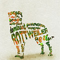 Rottweiler Dog Watercolor Painting / Typographic Art by Inspirowl Design