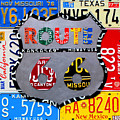 Route 66 Highway Road Sign License Plate Art by Design Turnpike