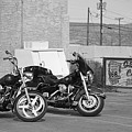 Route 66 Motorcycles Bw by Frank Romeo