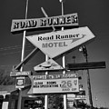 Route 66 - Road Runner Motel 001 Bw by Lance Vaughn
