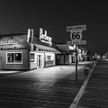 Route 66 Santa Monica Black And White  by John McGraw