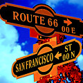 Route 66 Street Sign Stylized Colors by Phyllis Denton