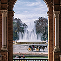 Rowboat, Fountain, Horse And Carriage by Joan Carroll