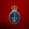 Royal Australian Navy -  R A N  Badge Over Red Velvet by Serge Averbukh