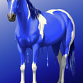 Royal Blue Wet Paint Horse by Crista Forest
