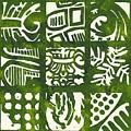 Rubbing Patterns Linocut by Kayla Race