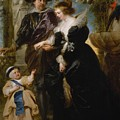 Rubens His Wife Helena Fourment 16141673 And Their Son Frans 16331678 by Peter Paul Rubens