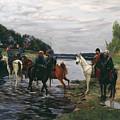 Rubicon. Crossing The River By Denis Davydov Squadron. 1812. by Simon Kozhin