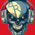 Rubino Skull In Headphones by Tony Rubino