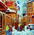 Rue St Paul Montreal Streetscene Cafes And Caleche by Carole Spandau