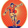 Rugby Player Kicking Ball Woodcut by Aloysius Patrimonio