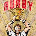 Rugby Player Raising Championship World Cup Trophy by Aloysius Patrimonio