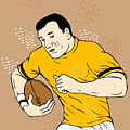 Rugby Player Runningwith The Ball by Aloysius Patrimonio
