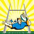 Rugby Player Scoring Try Retro by Aloysius Patrimonio