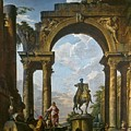 Ruins With The Statue Of Marcus Aurelius Giovanni Paolo Panini by Eloisa Mannion