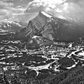 Rundle Towering Over The Town Of Banff Black And White by Adam Jewell