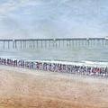 Runners On The Beach Panorama by David Zanzinger