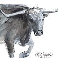 Running Texas Longhorn Watercolor Painting By Kmcelwaine by Kathleen McElwaine