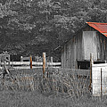 Rural Serenity Black And White Version - Red Roof Barn Rustic Country Rural by Jon Holiday