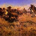 Russell Charles Marion Running Buffalo by PixBreak Art