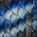 Rusted Fence With Blue Paint by Robert Hamm