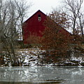 Rustic Barn By The Frozen Lake by Tammy Miller