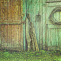 Rustic Barn Doors With Grunge Texture by Sandra Cunningham