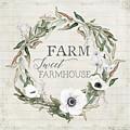 Rustic Farm Sweet Farmhouse Shiplap Wood Boho Eucalyptus Wreath N Anemone Floral 2 by Audrey Jeanne Roberts