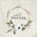 Rustic Farmhouse Gather Together Shiplap Wood Boho Feathers N Anemone Floral 2 by Audrey Jeanne Roberts