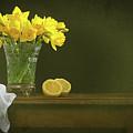 Rustic Still Life With Daffodils by Amanda Elwell
