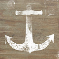 Rustic White Anchor- Art by Linda Woods by Linda Woods
