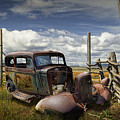 Rusty Auto Wreck Out West by Randall Nyhof