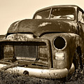 Rusty But Trusty Old Gmc Pickup Truck - Sepia by Gordon Dean II