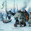 Saami Family At The Hut by Johan Tiren