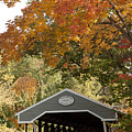 Saco River Covered Bridge Under Fall Foliage by Jeff Folger