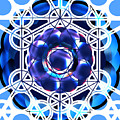 Sacred Geometry Blue Shapes Background by Laura Haro