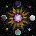 Sacred Planetary Geometry - Dark Red Atom by Iowan Stone-Flowers