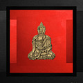 Sacred Symbols - Gold Buddha On Black And Red  by Serge Averbukh
