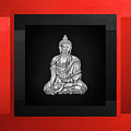 Sacred Symbols - Silver Buddha On Red And Black by Serge Averbukh