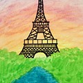 Saffron Sunset Over Eiffel Tower In Paris-watercolour  by Sylvie Marie